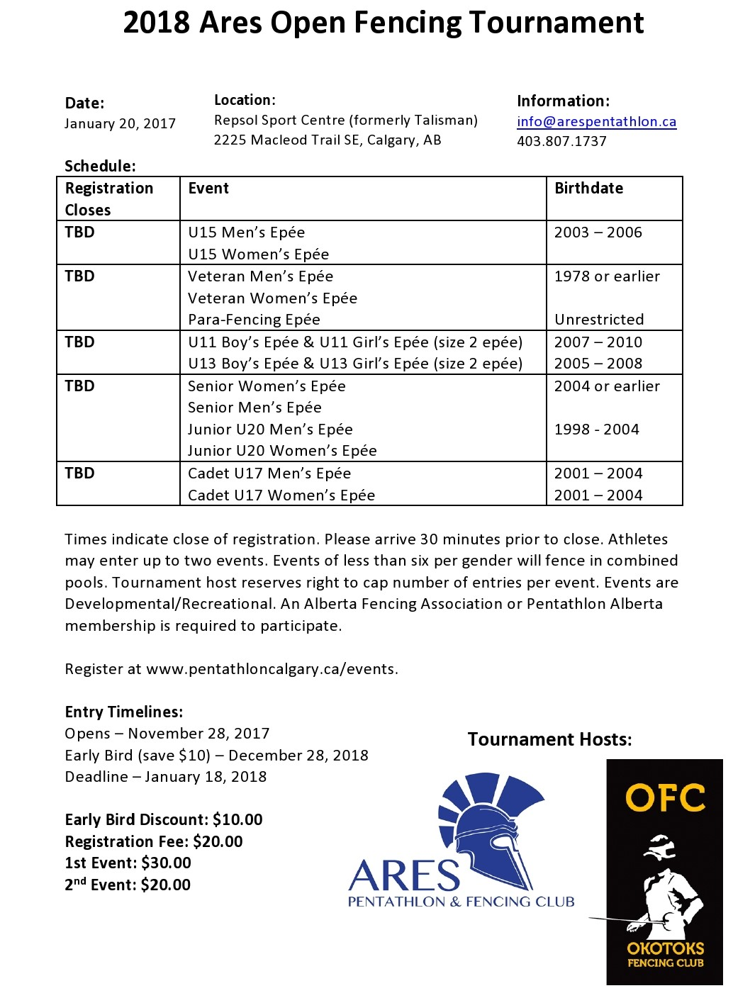 2017.07.22 2018 ARES Open Information Sheet